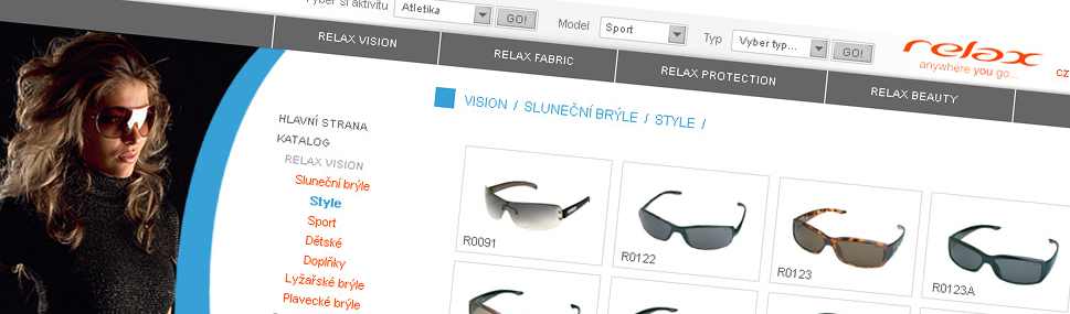 RelaxWorld.eu website Webdesign and complex web service for Czech eyewear company. Eastburger coop.