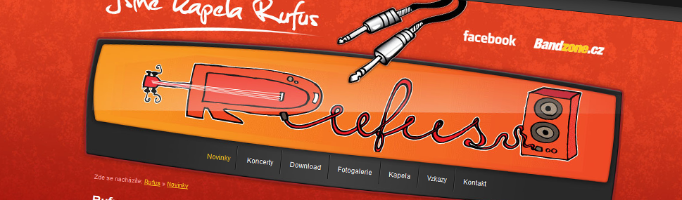 Rufus.cz webdesign Webdesign for music band. Illustrations by Libor Drobný.